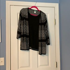 Cardigan with attached shell
